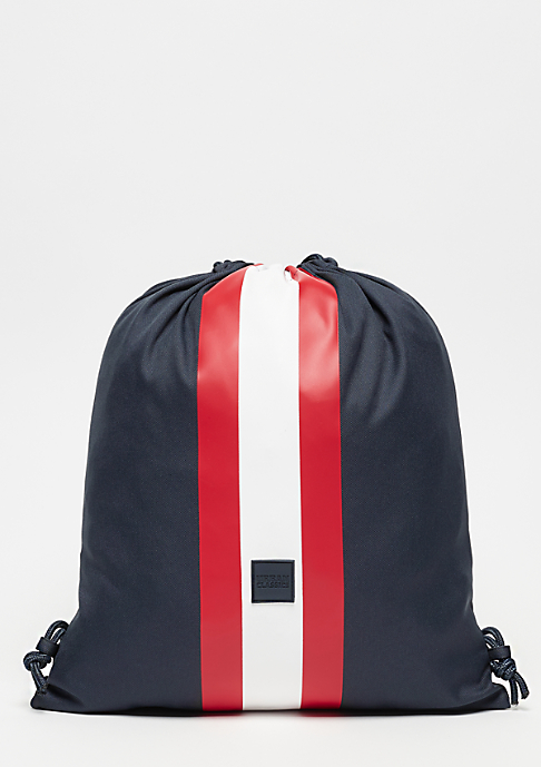 Urban Classics Gym Bag with Stripes navy/firered/white