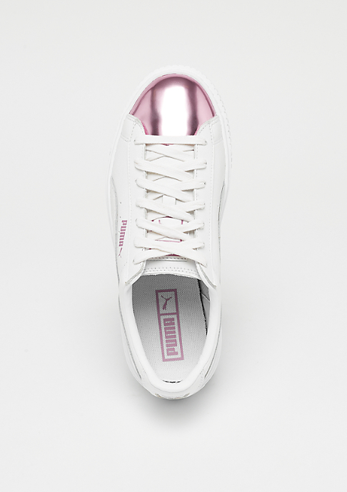 Puma Basket Platform Metallic white pink metallic