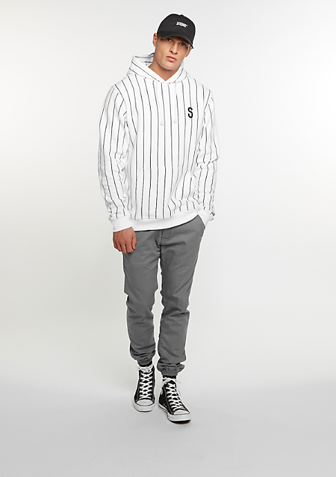 SNIPES Hooded-Sweatshirt Pinstripe white/white print