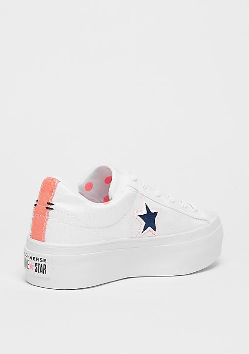 Converse One Star Platform OX white/crimson pulse/navy