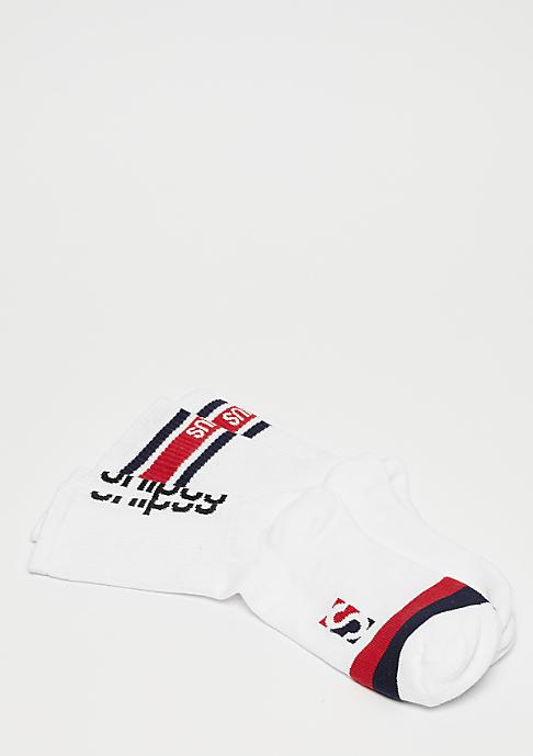 SNIPES 2 Pack Striped Crew Socks white/red/navy