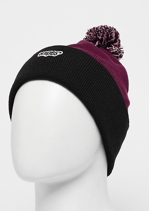 SNIPES Bobble Beanie black/bordeaux