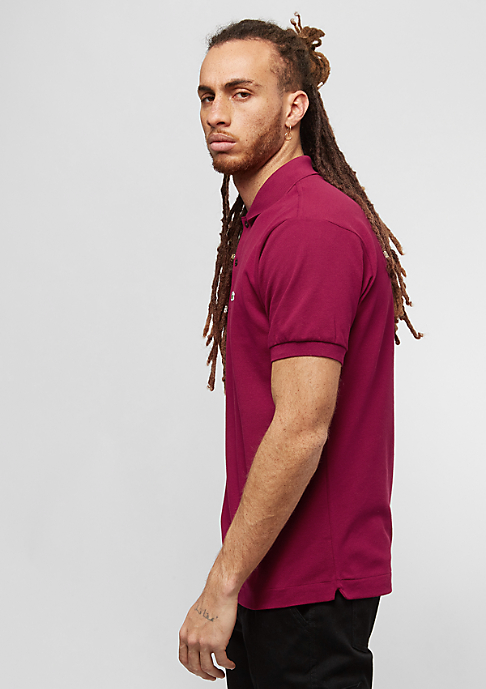 Lacoste Short Sleeved Ribbed Collar Shirt bordeaux