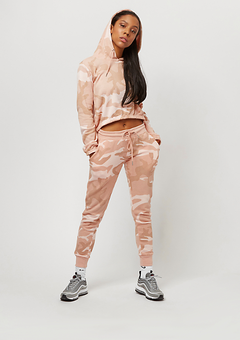 Urban Classics Camo Cropped Hoody rose