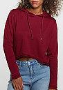 Hooded-Sweatshirt Cropped Terry burgundy