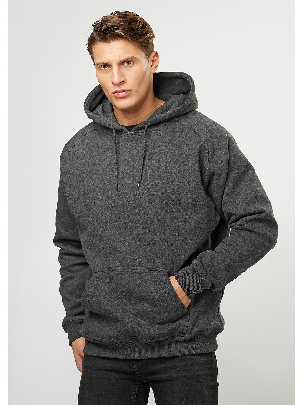 urban classics hooded sweatshirt blank charcoal snipes. Black Bedroom Furniture Sets. Home Design Ideas