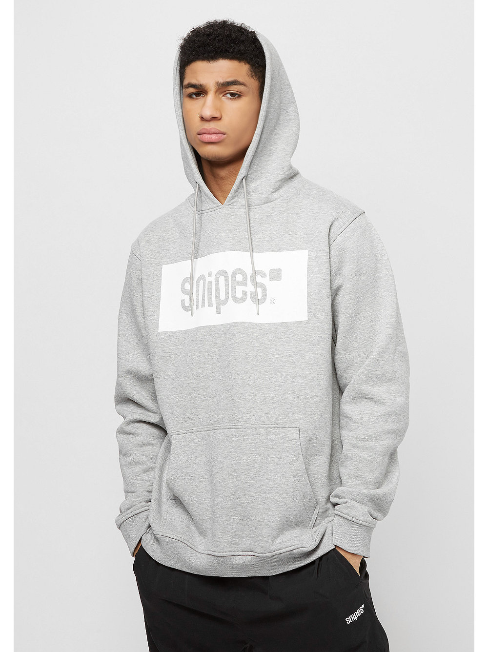 snipes hooded sweatshirt box logo heather grey white. Black Bedroom Furniture Sets. Home Design Ideas
