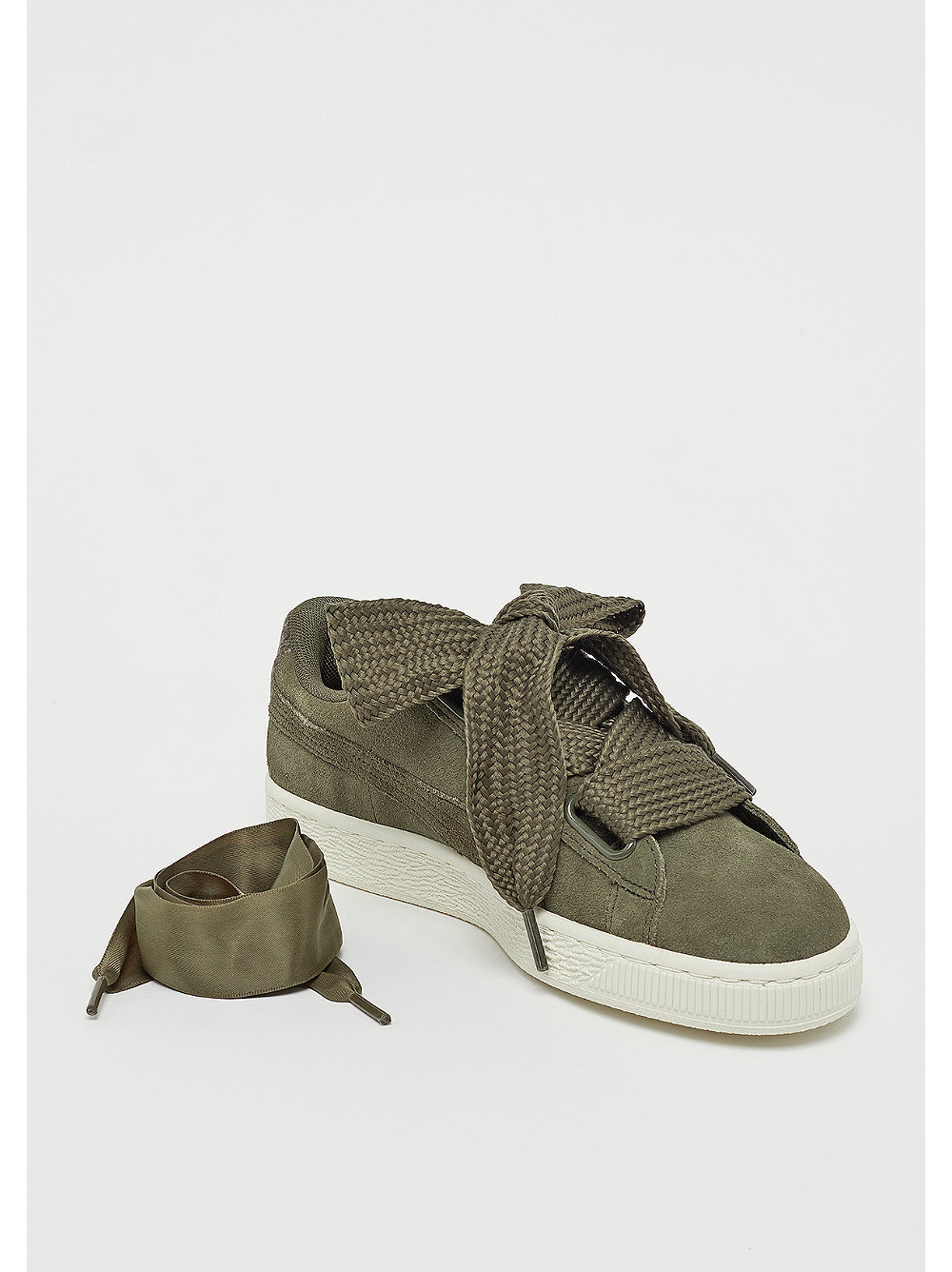 puma suede heart olive