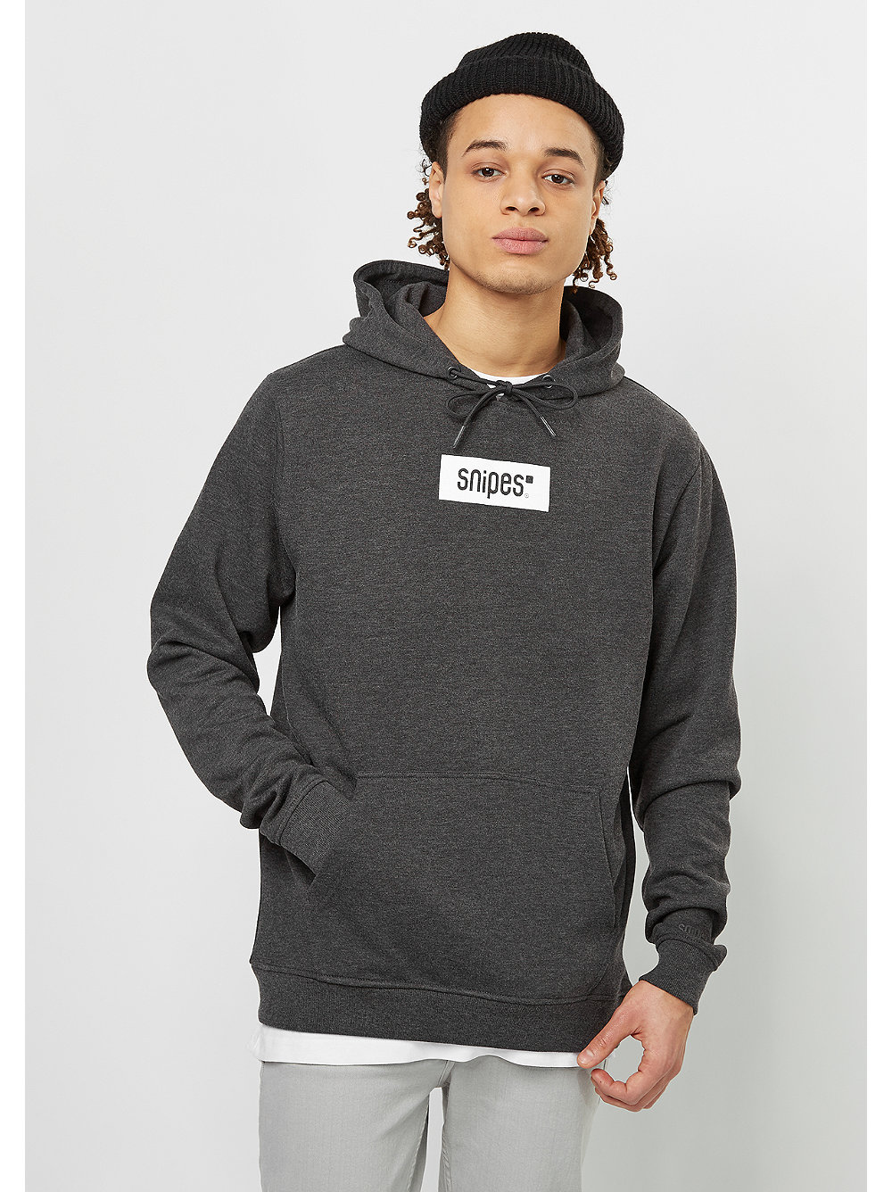 snipes hooded sweatshirt small box logo charcoal white snipes onlineshop. Black Bedroom Furniture Sets. Home Design Ideas