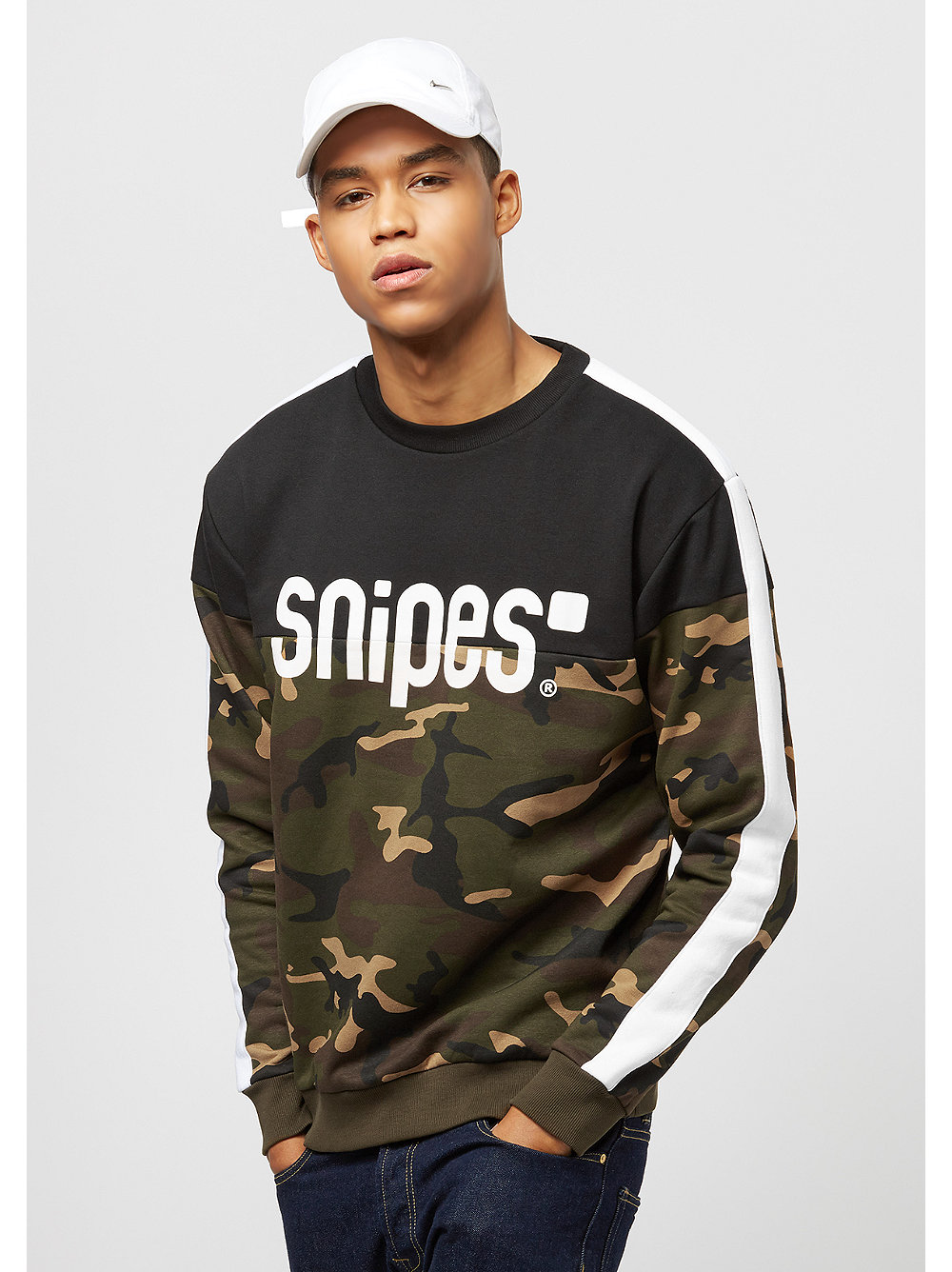 block stripe basic logo camo sweatshirt bei snipes. Black Bedroom Furniture Sets. Home Design Ideas