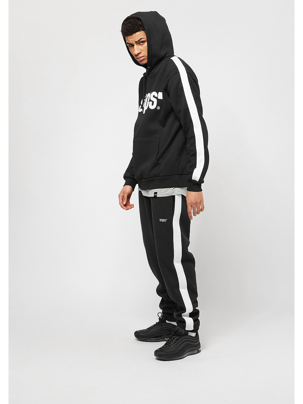 snipes basic logo stripe hoodie black online bei snipes. Black Bedroom Furniture Sets. Home Design Ideas