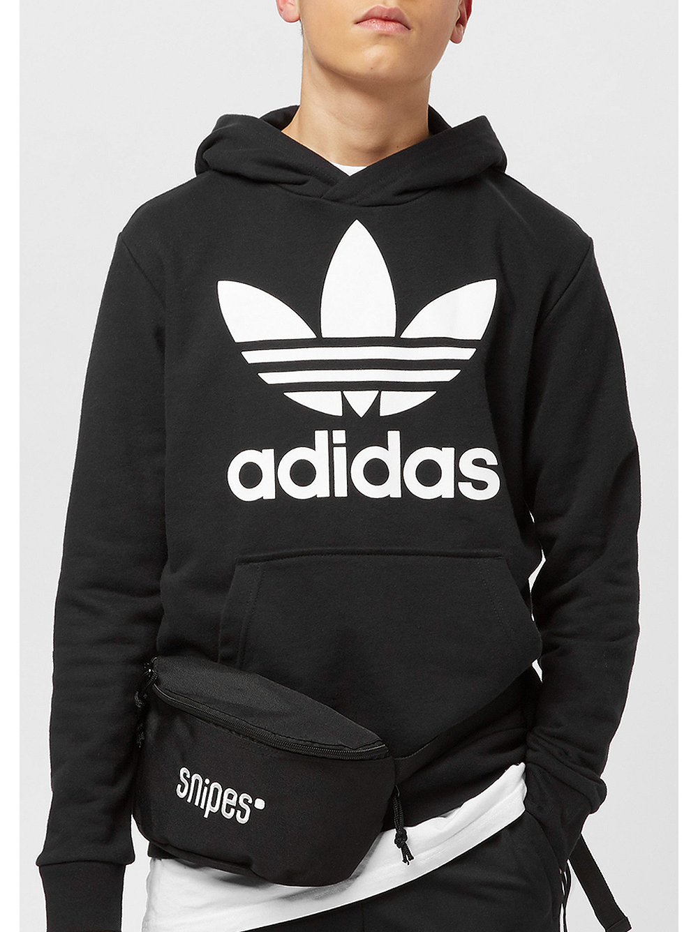 adidas kids trefoil hoodie black white bei snipes. Black Bedroom Furniture Sets. Home Design Ideas