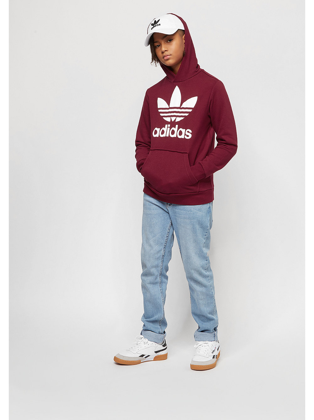 adidas kids trefoil hoodie burgundy bei snipes. Black Bedroom Furniture Sets. Home Design Ideas
