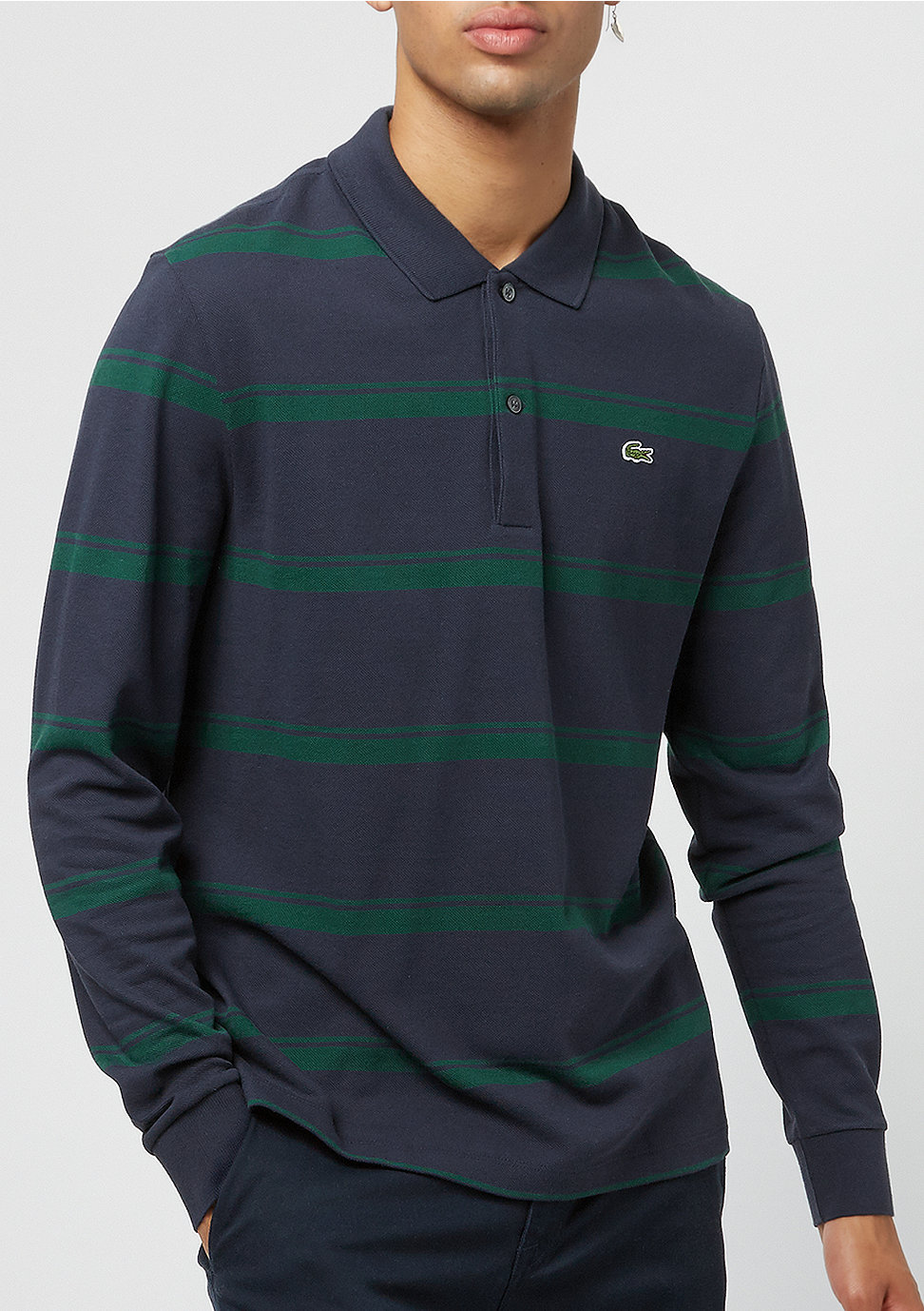 10330b89a8 Commander Lacoste Long sleeved ribbed collar shirt merdian blue/aconit  Polos chez SNIPES