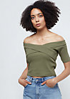 Ladies Off Shoulder Cross Rib Tee olive