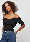 Ladies Off Shoulder Cross Rib Tee black