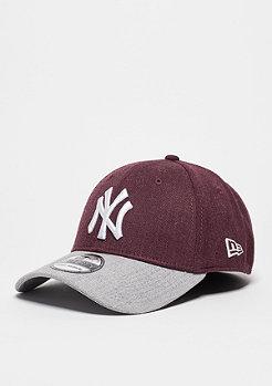 Baseball-Cap Heather Visor 39Thirty MLB New York Yankees maroon/grey