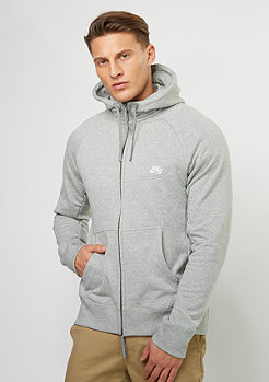 Hooded-Zipper Everett dark grey heather/white