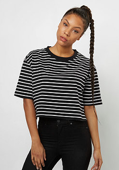 Urban Classics Short Striped Oversized Tee black/white
