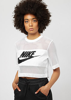 NIKE Top Crop Mesh white/black/white