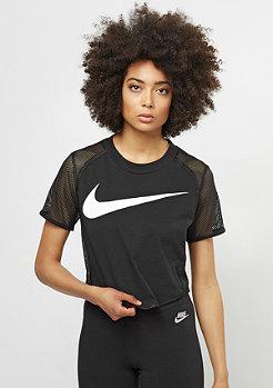 NIKE T-Shirt Crop Swoosh Mesh black/black/white