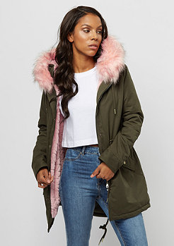 Urban Classics Peached Teddy Parka dark olive