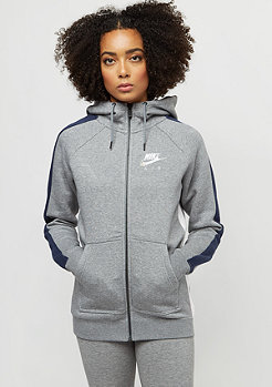 NIKE Rally Hoodie FZ Air carbon heather/obsidian/pearl pink