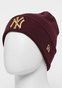 New Era Essential Cuff Knit MLB New York Yankees maroon/gold