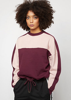 Urban Classics Oversize 2-Tone Stripe Crew port/light rose
