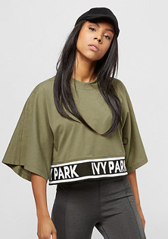 IVY PARK Logo Tape Boxy Crop Crew dark green