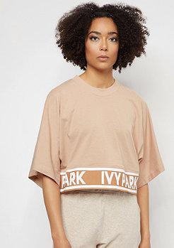 IVY PARK Logo Tape Boxy Crop Crew stone