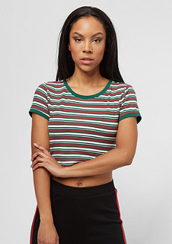 Urban Classics Rib Stripe Cropped white/green/firered
