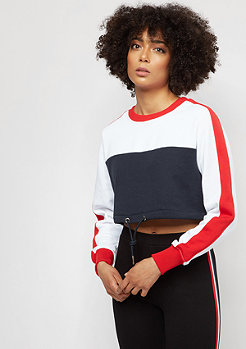 Urban Classics Cropped 3-Tone Stripe navy/white/firered