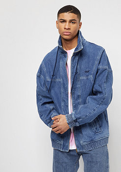 SNIPES Hooded Denim Jacket blue