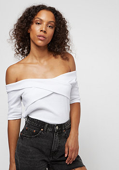 Urban Classics Ladies Off Shoulder Cross Rib Tee whit