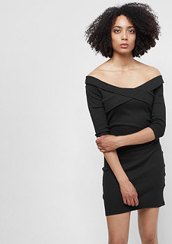 Urban Classics Ladies Off Shoulder Cross Rib Dress black