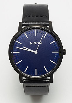 Nixon Porter Leather All Black / Dark Blue