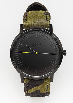 Nixon Porter Leather Black / Camo / Volt