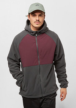 NIKE SB Polartec Winterized Full-Zip Fleece Hoodie anthracite/burgundy crush/black