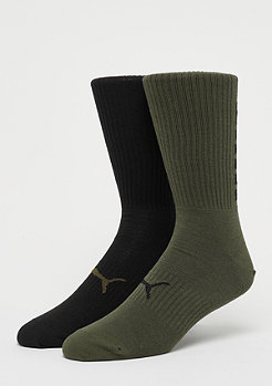 Puma Big Logo Crew Sock 2P olive green/black