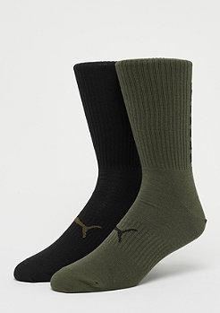 Puma Big Logo Crew Sock 2P olive green/black