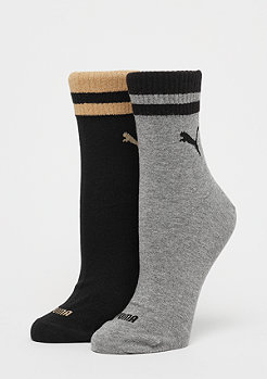 Puma Short Sock Lurex 2P black/gold