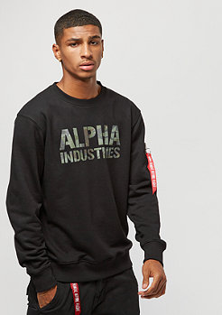 Alpha Industries Camo Print Sweater black/woodland