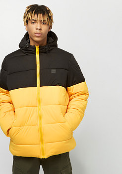 Urban Classics Hooded 2-Tone Puffer Jacket chromeyellow/blk