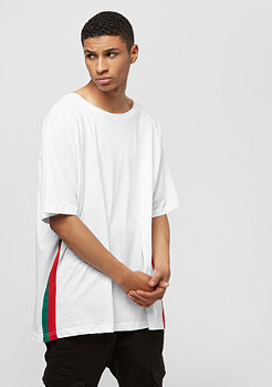 Urban Classics Oversize Raglan Side Stripe Tee white firered green