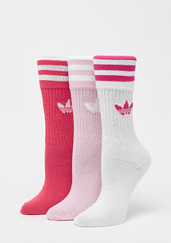 adidas Solid Crew Sock 3P true pink/white
