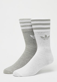 adidas Solid Crew Socks 2P medium grey heather/white