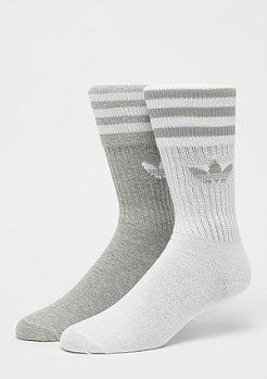 adidas Solid Crew Socks 2P medium grey heather/white