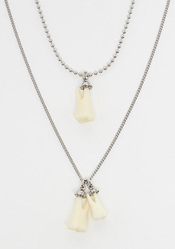 Cheap Monday Teeth Necklaces rhodium