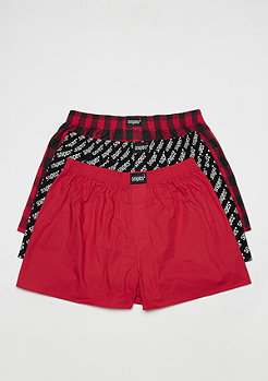 SNIPES 3er Boxer Cuffed aop, checked, red